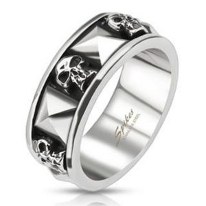 spikes Accessories - 316L stainless steel skull ring